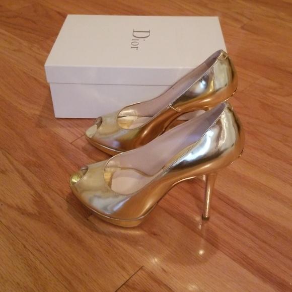 Dior Shoes | Christian Dior Gold Pumps